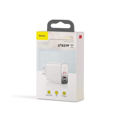Baseus BS-EU907 45W Digital Display Quick Charge 4.0 - 3.0 USB Charger Smart Power-Off