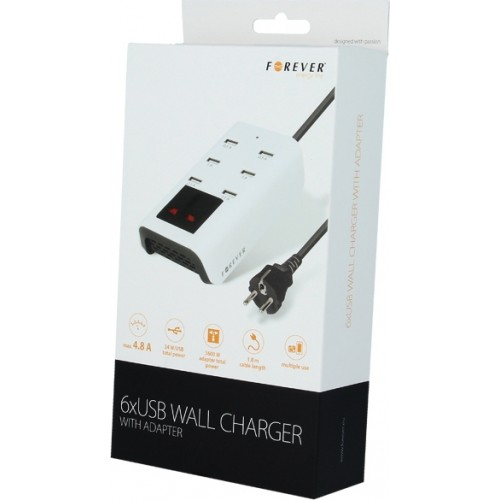Forever 6x USB Wall Adapter Λευκό (GSM020610)