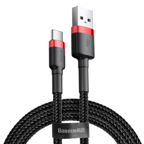 Baseus 3 Μέτρα 2A Max USB to USB-C / Type-C Καλώδιο Ταχειας Φόρτισης & Μεταφοράς Δεδομένων (CATKLF-U91) Black/Red