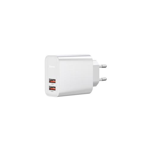 Ταχυφορτιστής 30W Baseus 2x USB Wall Adapter Λευκό με τεχνολογία Qualcomm Quick Charge 3.0 (CCFS-E02)