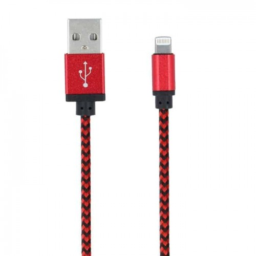 Forever Braided USB to Lightning Cable Κόκκινο 1m