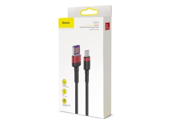 Baseus cable Cafule HW QC (type-C   1 m) red black 40W (CATKLF-P91)