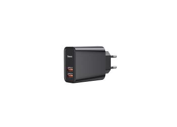 Ταχυφορτιστής 30W Baseus 2x USB Wall Adapter Μαύρο με τεχνολογία Qualcomm Quick Charge 3.0 (CCFS-E01)